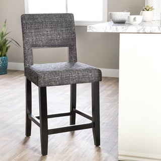 Oh! Home Zeta Stationary Bar Stool, Jet Black Tweed Fabric