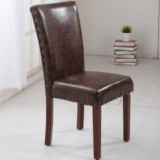 Castillian Classic Brown Parson Chairs with Nail Head Trim (Set of 2)