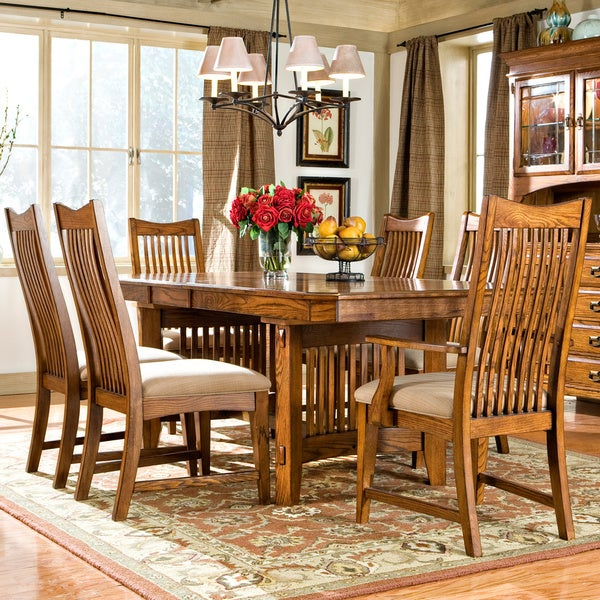 intercon pasadena revival solid oak mission trestle table 16449677