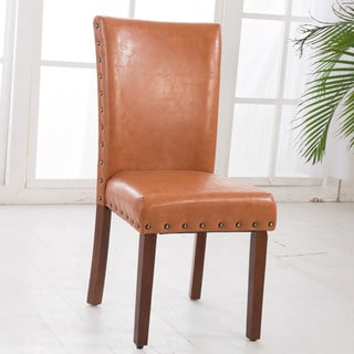 Luxury Comfort Collection Saddle Brown Parson Chairs with Nail Head (Set of 2)