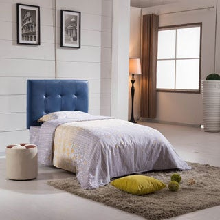 Twin Size Blue Faux Leather Headboard with Nail Head Accents