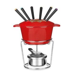 Red Enamel Cast Iron Fondue Set