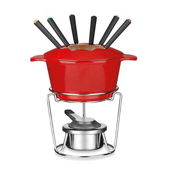 Red Enamel Cast Iron Fondue Set