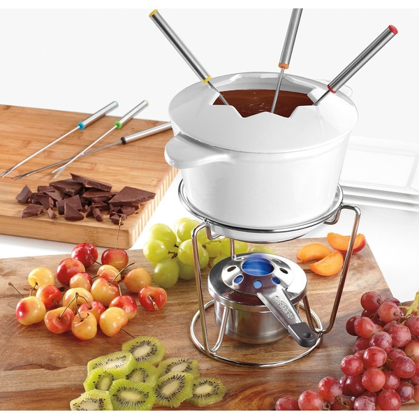 White Enamel Cast Iron Fondue Set