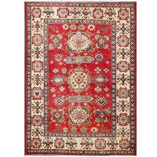 Herat Oriental Afghan Hand-knotted Kazak Red/ Ivory Wool Rug (5'7 x 7'5)