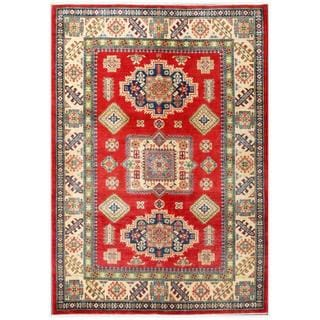 Herat Oriental Afghan Hand-knotted Kazak Red/ Ivory Wool Rug (5'6 x 7'9)