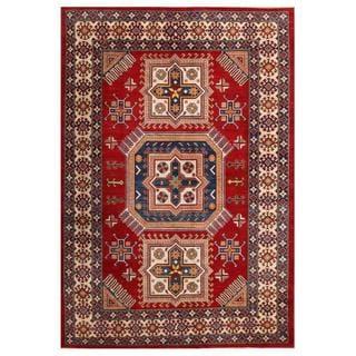 Herat Oriental Afghan Hand-knotted Kazak Red/ Beige Wool Rug (7'1 x 10'2)