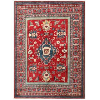 Herat Oriental Afghan Hand-knotted Kazak Red/ Navy Wool Rug (5'10 x 8'2)