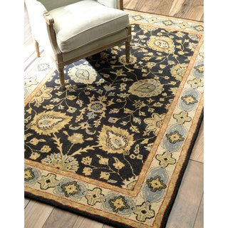 nuLOOM Hand-tufted Traditional Wool Black Rug (8' x 10')