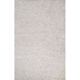 Solid Pattern White Polyester Shag Rug (7'6x9'6)