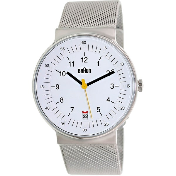 Braun Men's BN0082WHSLMHG Stainless Steel White Dial Watch