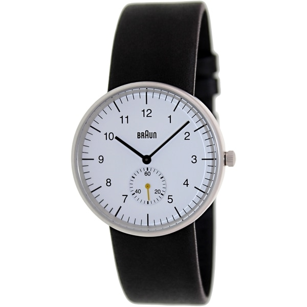Braun Men's BN0024WHBKG Black Leather Analog Quartz Watch