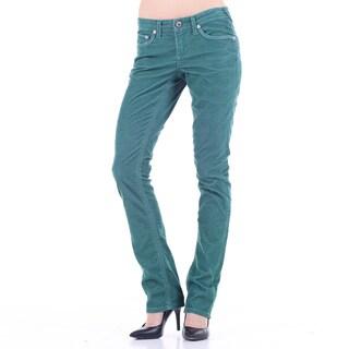 Stitch's Women's Lightweight Green Corduroy Straight Leg Jeans