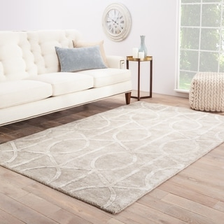 Hand Tufted Geometric Pattern Grey Wool/ Art Silk Area Rug (9'x12')