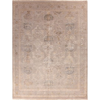 Hand Knotted Oriental Pattern Grey Wool/ Art Silk Area Rug (9'x12')