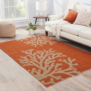 Abstract Pattern Orange/ Grey Polypropylene Area Rug (9'x12')