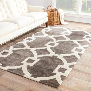 Geometric Pattern Black/ Grey Wool/ Art Silk Area Rug (9'x12')