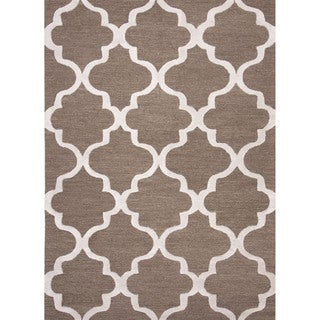 Hand Tufted Geometric Pattern Brown/ Ivory Wool Area Rug (9'x12')
