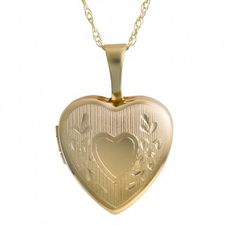 Fremada 10k Yellow Gold Heart Locket with Delicate 18-inch Rope Chain Necklace