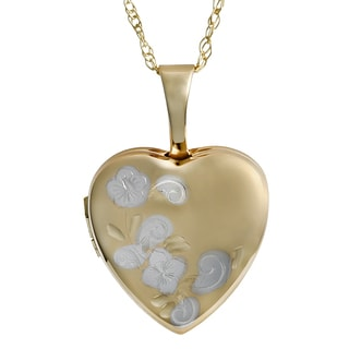 Fremada 10k Two-tone Gold Heart Locket with Rope Chain Necklace (18 inch)