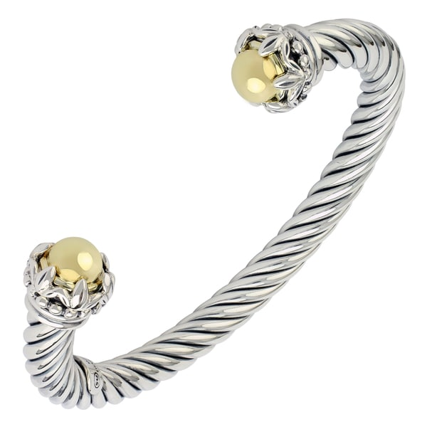 Sunstone Sterling Silver Two-tone Twist Cable Cuff Bracelet