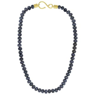 Sunstone Catherine Canino 18k Goldplated Faceted Blue Quartzite Beaded Necklace