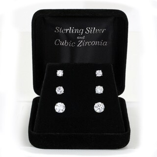 Sunstone Sterling Silver Round Cubic Zirconia Stud Earrings (Set of 3 Pairs) with Gift Box