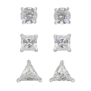 Sunstone Sterling Silver Cubic Zirconia Assorted Shape Stud Earrings (Set of 3 Pairs) with Gift Box