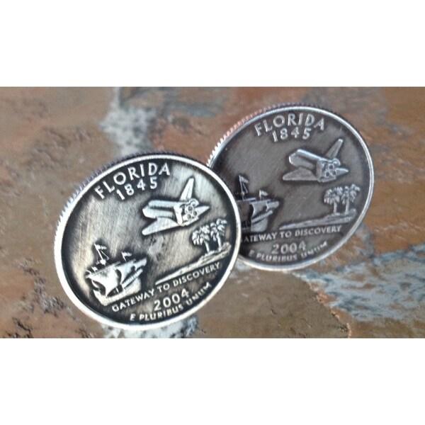 Handmade Pair of Florida State Quarter Cufflinks Cuff Links