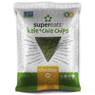 SuperEats Cheddar Kale and Chia Chips 1.5-ounce Bag (Pack of 24)