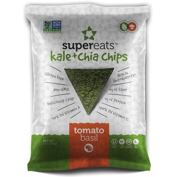 SuperEats Tomato Basil Kale and Chia Chips 1.5-ounce Bag (Pack of 24)