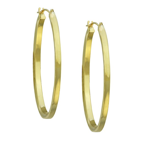 14k Yellow Gold Oval Polished Square Tube Hoop Earrings