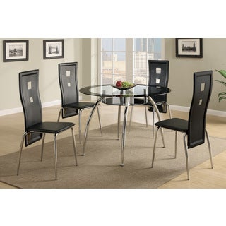 Corum Round Dining Table with 4 Rectangular Shaped Metal Chairs