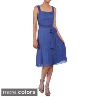 DFI Women's A-line Empire Waist Sheer Evening Dress