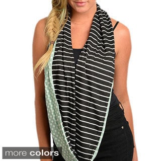 Feellib Women's Knit Polka-dot and Stripes Infinity Scarf