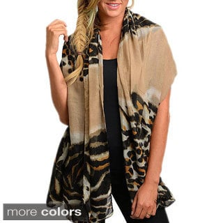 Shop The Trends Women's Bold Tiger Print Sheer Woven Scarf