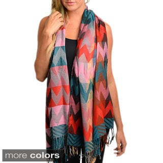 Feellib Women's Multicolor Chevron Wrap Scarf with Tassels