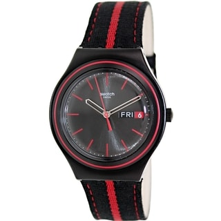 Swatch Women's Irony YGB7000 Two-tone Leather Black Dial Watch