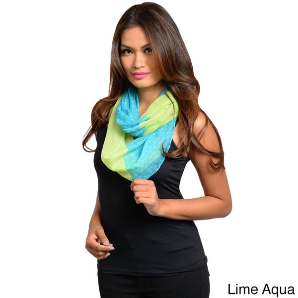 Shop The Trends Women's Multi Polka-dot Lightweight Woven Infinity Scarf