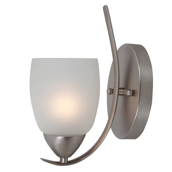 Single Light Wall Sconce with White Handleless Cup Glass Shade