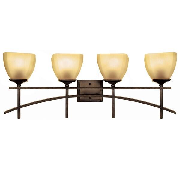 4-light Vanity with Amber Scavo Glass