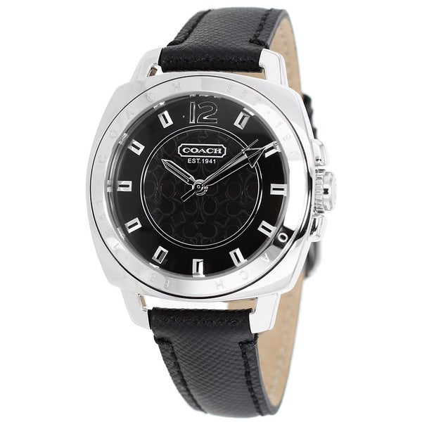 Coach Women's Boyfriend 14501602 Black Leather Quartz Watch