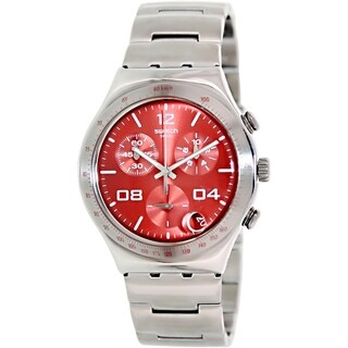 Swatch Men's Irony YCS563G Stainless Steel Red Dial Quartz Watch