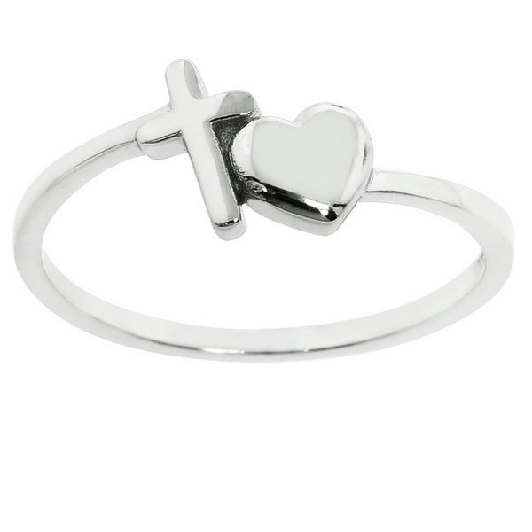 Eternally Haute Sterling Silver Cross Your Heart Ring