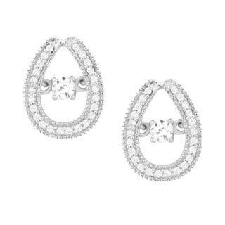 La Preciosa Sterling Silver 'Dancing' Cubic Zirconia Teardrop Stud Earrings