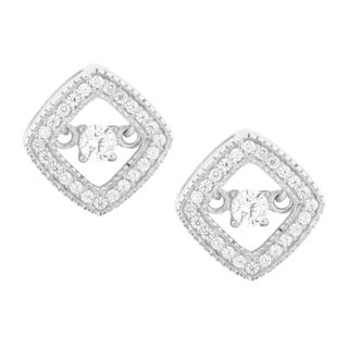 La Preciosa Sterling Silver 'Dancing' Cubic Zirconia Square Earrings
