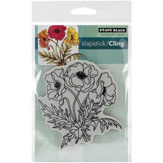 "Penny Black Cling Rubber Stamp 4""X6"" Sheet-Poppy Trio"