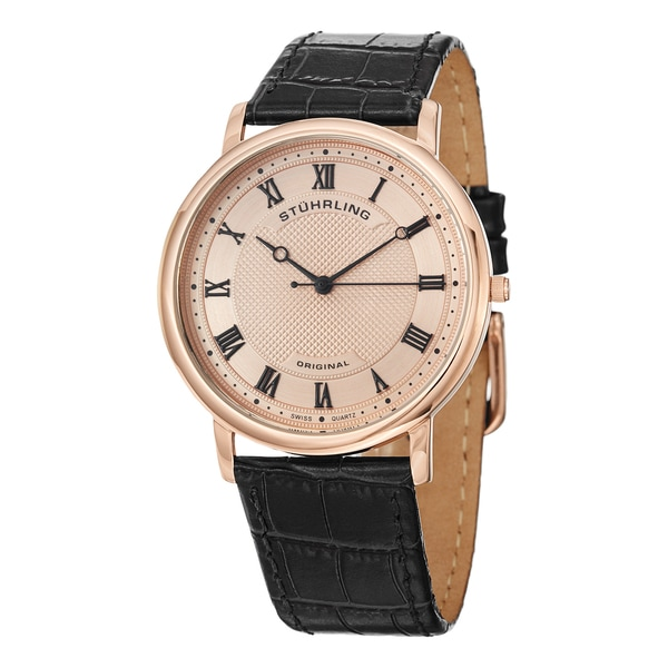 Stuhrling Original Men's Swiss Quartz Classique 45 Leather Strap Watch 13644137