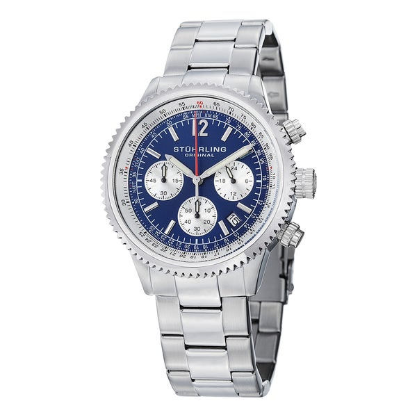 Stuhrling Original Men's Chronograph Monaco Stainless Steel Bracelet Watch