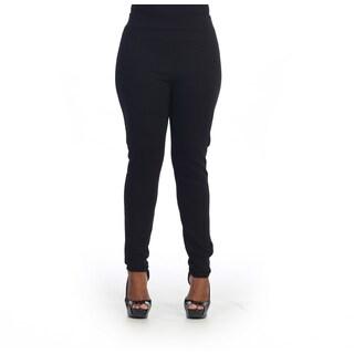 Hadari Women's Plus Size Black High Waist Skinny Pants
